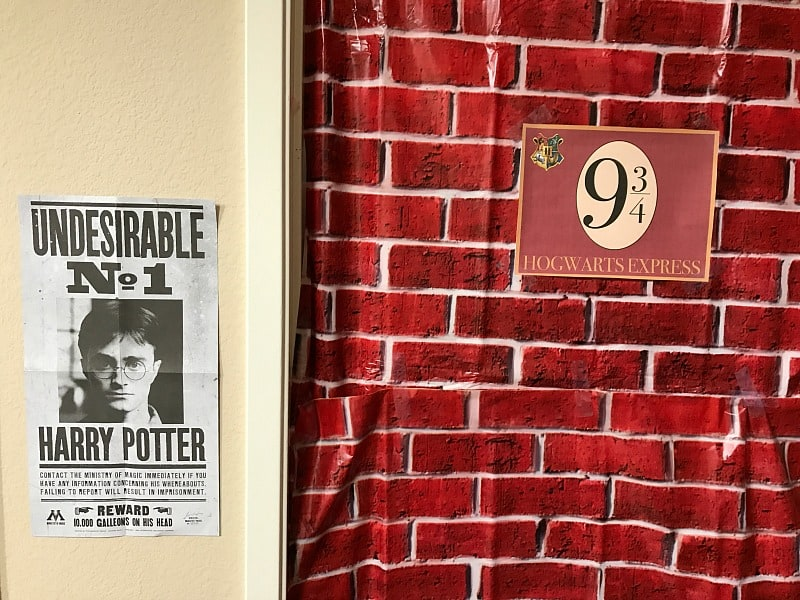 harry potter wall decoration and poster for a birthday party
