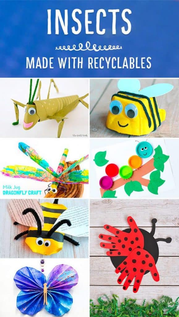 insect crafts made from recycled materials