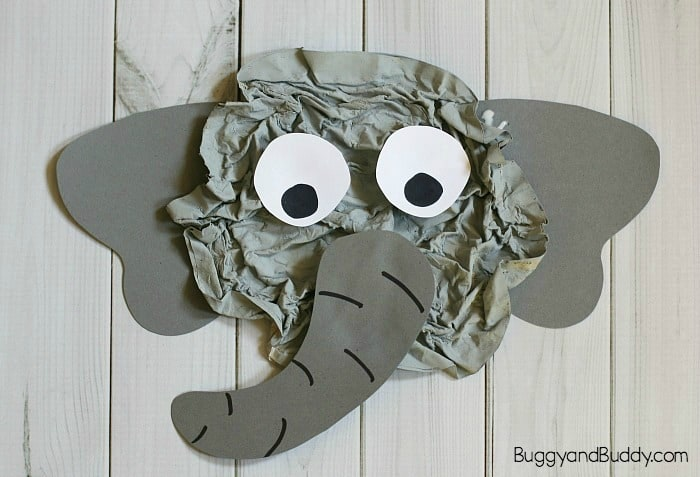 cool elephant craft for kids using newspaper
