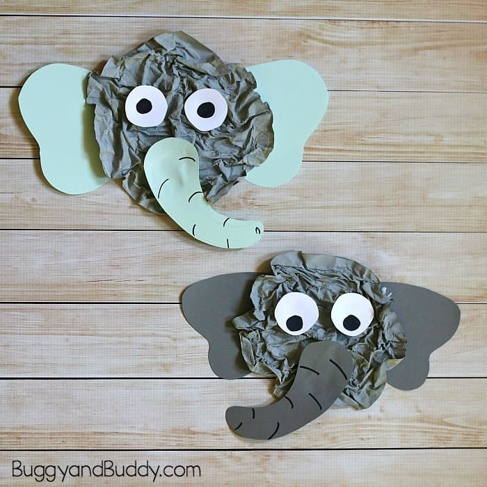 elephant craft for kids using newspaper