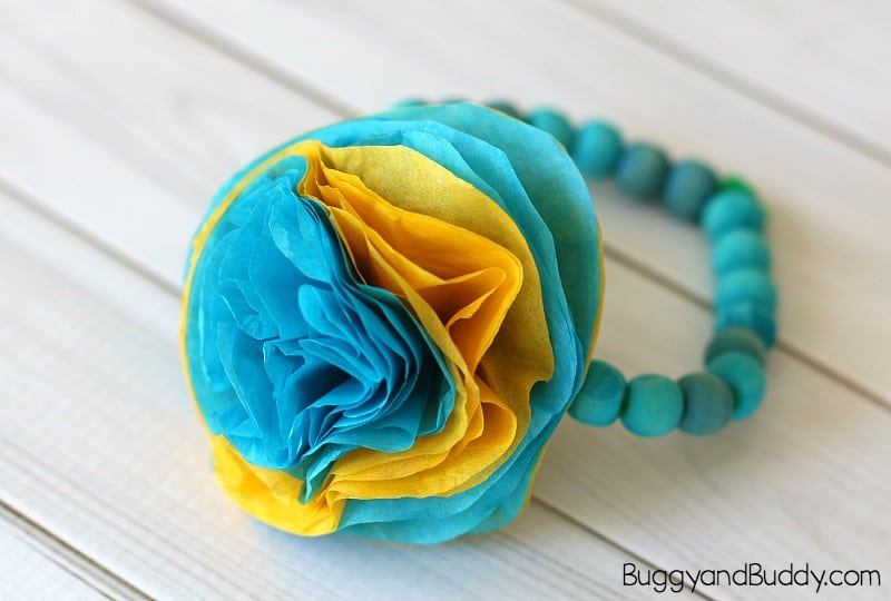Tissue Flower Bracelet Craft for Kids