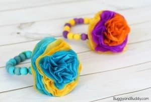 Tissue Flower Bracelet Craft for Kids