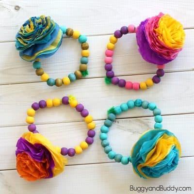 Tissue Paper Flower Bracelet Craft for Kids