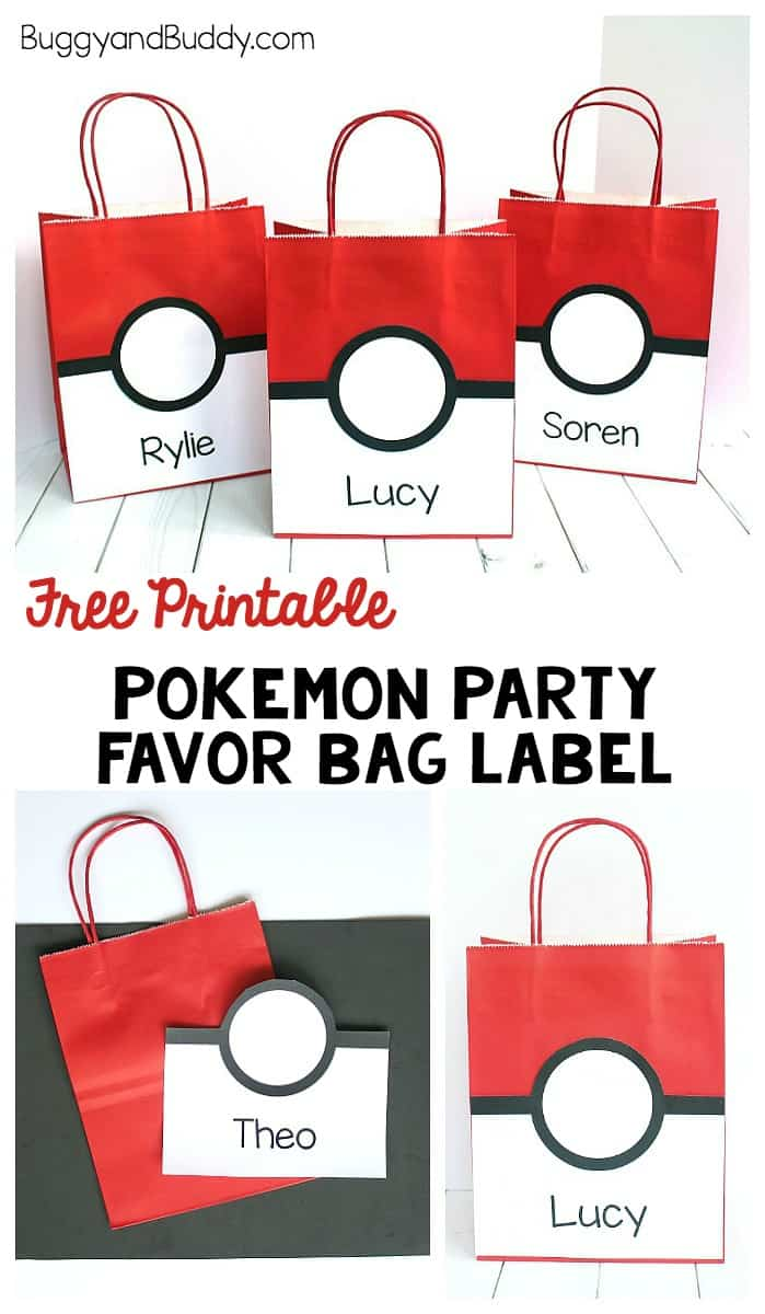 free printable pokemon party favor bag label that looks like a pokeball and party favor ideas
