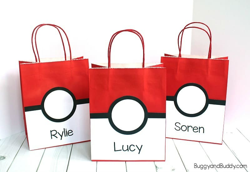 Free Printable Pokemon Party Favor Bag Label That Looks Like A Pokeball And Ideas