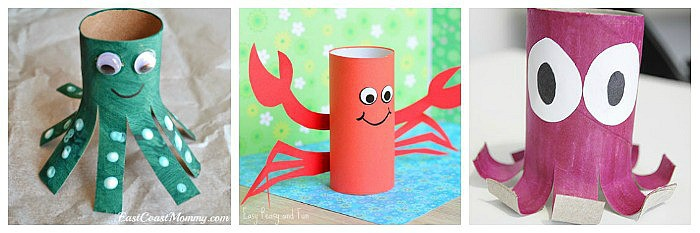 cardboard tube ocean crafts for kids