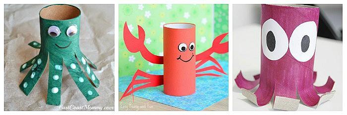 cardboard tube ocean crafts for kids