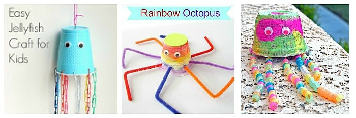 plastic cup ocean crafts for kids