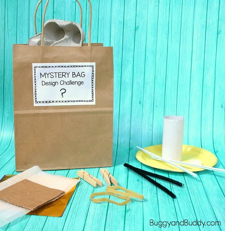 STEM Design Challenge for Kids: Mystery Bag Challenge with Free STEM Challenge Cards