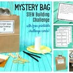 mystery bag STEM design challenge for kids using recyclables with free STEM challenge cards