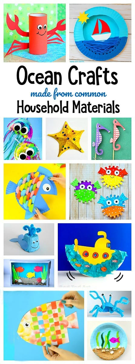 ocean crafts for kids using common household materials like paper plates, bags, egg cartons, bubble wrap and more!