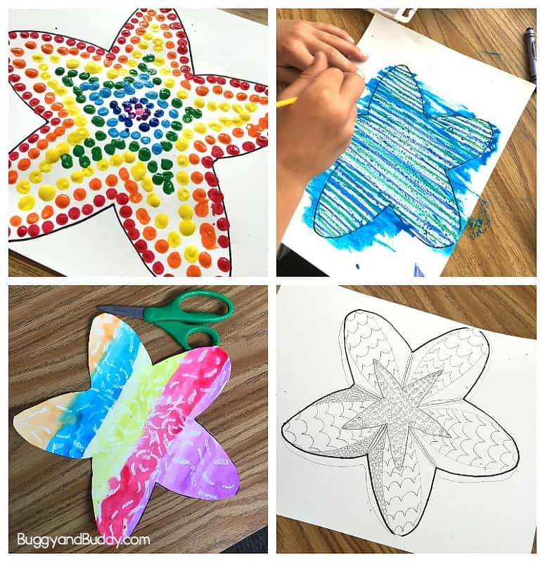 starfish art project for kids with free starfish template printable