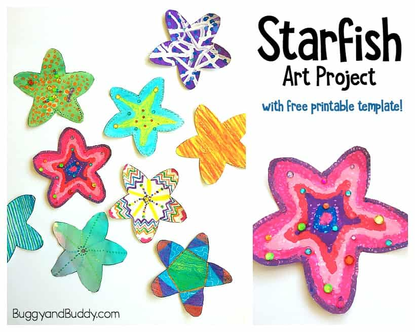 easy starfish craft for kids with free starfish printable template