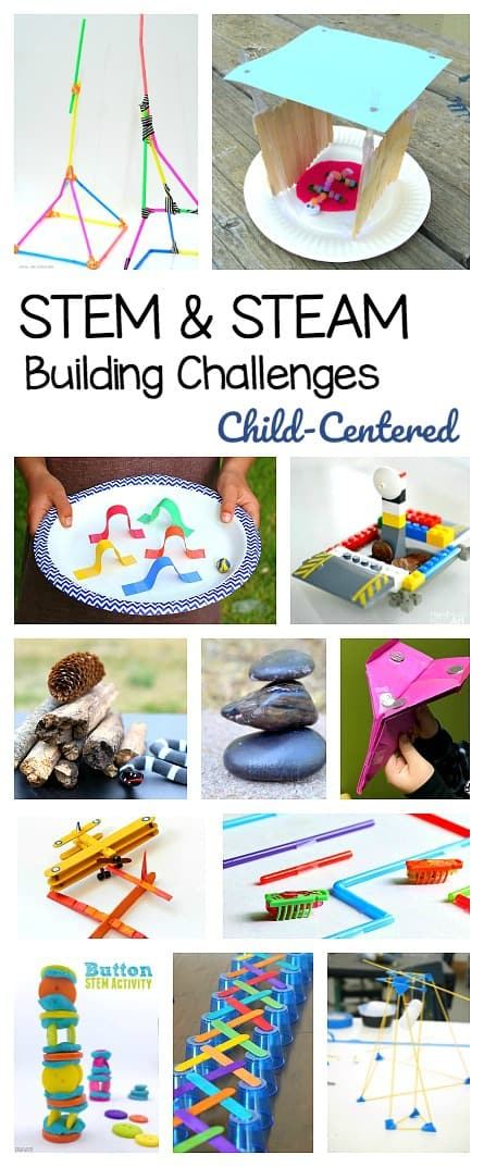 25+ STEM Challenges for Kids based on design, engineering, and building. STEAM and science activities that are child-centered including projects with natural materials, printable challenge cards, Lego and more!