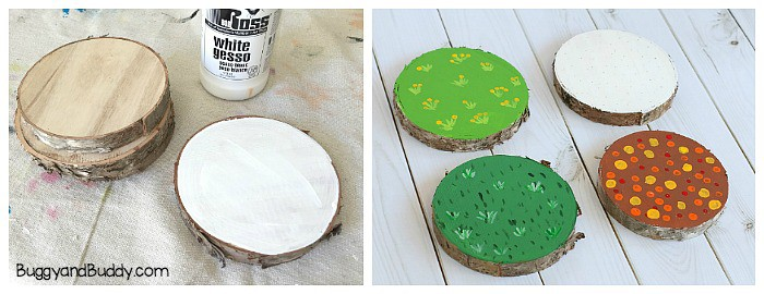 painting wooden slices to represent the four seasons