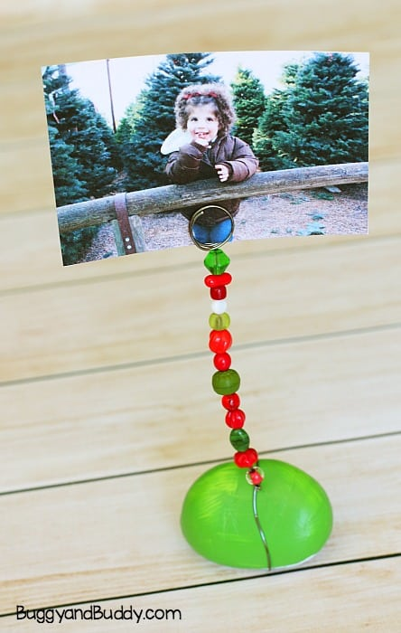 Painted Rock Photo Holder Craft for Kids perfect homemade christmas gift
