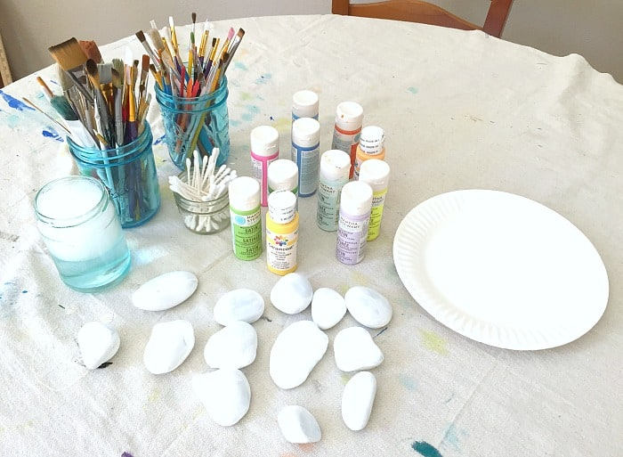 setting up a rock painting area