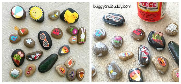 how to make story stones or seasonal rocks