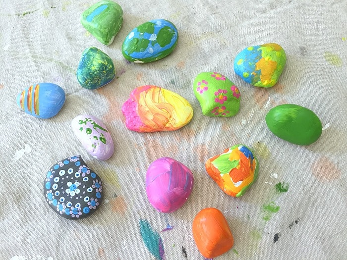 painting rocks with kids