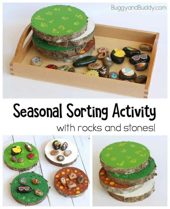 Seasons Activity for Kids using natural materials and sorting natural materials. Perfect hands on activity for preschool!