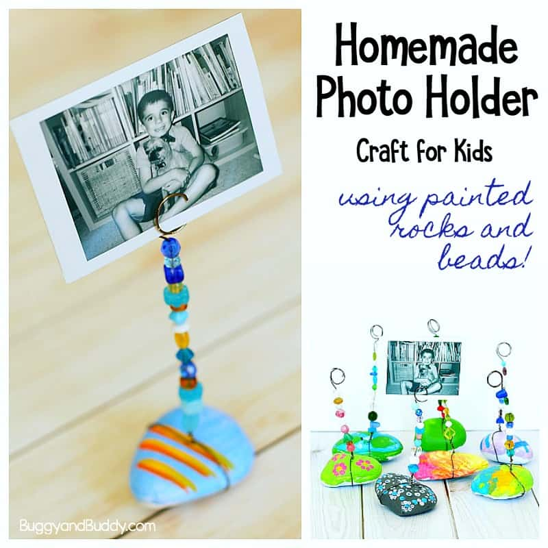 DIY Rock Photo Holder Craft for Kids using painted stones, wires and beads!