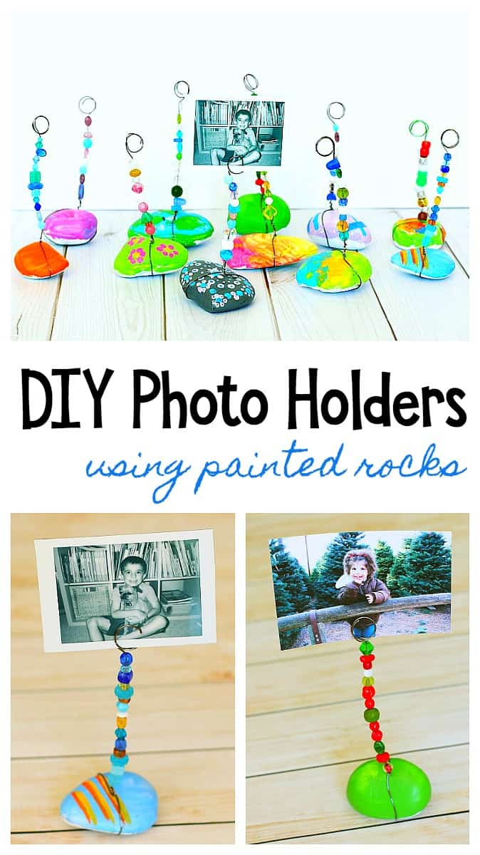 DIY Photo Holder for Kids using painted rocks or stones, wire, and beads. Sweet homemade gift or keepsake!