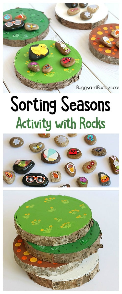 Seasons Activity for Kids: Sorting picture stones or rocks into various seasons.