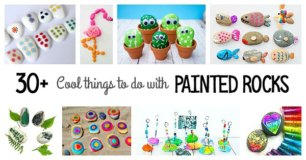 Over 30+ cool ways to use painted rocks- lots of fun rock crafts for kids including rock photo holders, rock animals, pet rocks and more!