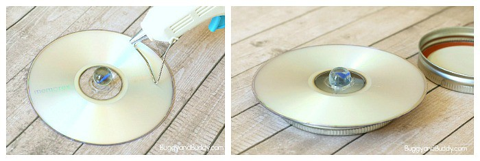 glue a marble in the center of the CD to make your spinning top