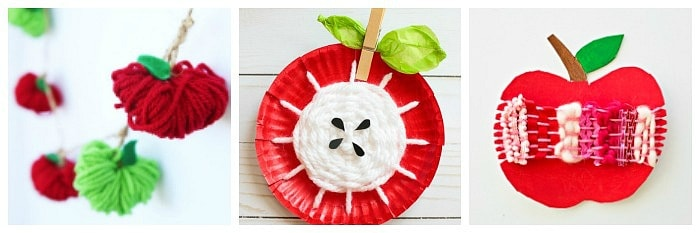 Apple crafts for kids using yarn and weaving