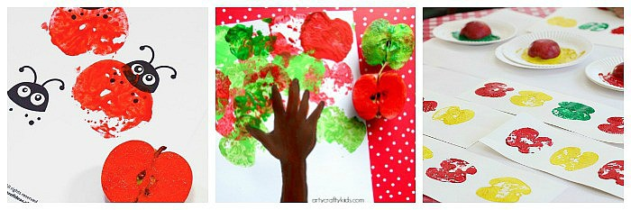 fall art and crafts for kids using apple prints