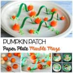 Halloween STEM Challenge for Kids: Make a pumpkin patch themed paper plate marble maze.
