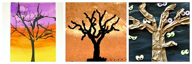spooky tree art and crafts for kids for halloween