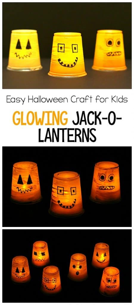 Super Easy Halloween Craft for Kids: Make Glowing Jack-o-lanterns using plastic cups
