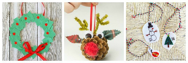 super cute Christmas ornaments for kids to make for the Christmas tree