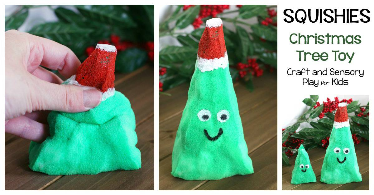 DIY Christmas Tree Squishies Tutorial: Make your own Christmas tree squishy toy- fun craft and sensory play for kids!