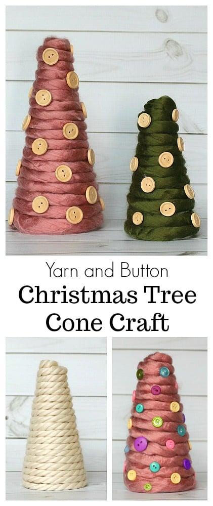 DIY Yarn Wrapped Cone Christmas Tree Craft