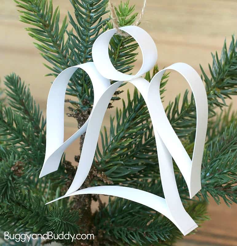 Paper strip angel ornament christmas craft with free for Angel decoration template
