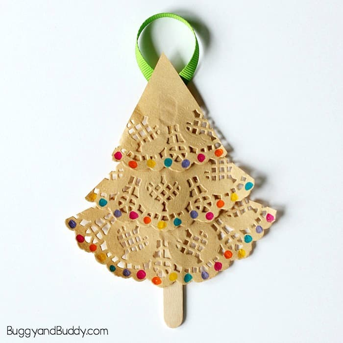 homemade christmas ornament craft for kids using paper doilies and popsicle sticks - Childrens Christmas Tree Decorations