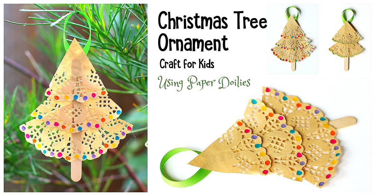 Christmas Tree Ornament Craft For Kids Using Paper Doilies Buggy