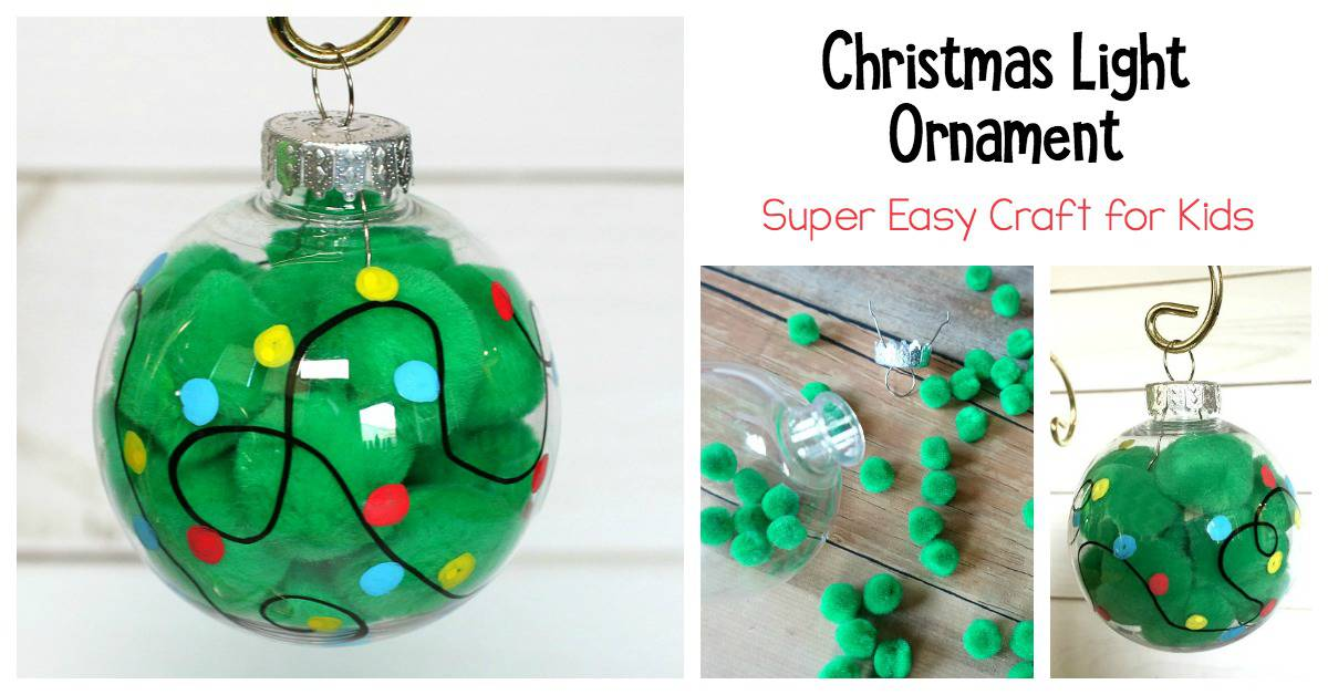 christmas light ornament craft for kids using pom poms - Christmas Ornament Craft