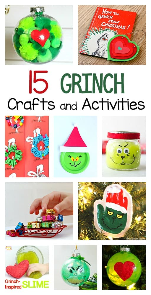 Grinch crafts and activities for kids to do this christmas including grinch slime, grinch ornaments, and grinch science and math