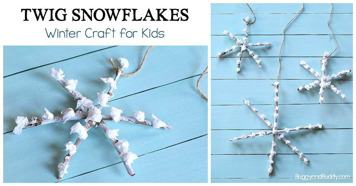 Twig Snowflakes: Winter Process Art Project for kids using sticks (preschool and kindergarten)