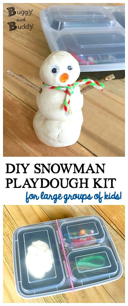 DIY Snowman Playdough Kit: Winter sensory play for kids and perfect for the preschool or kindergarten classroom!