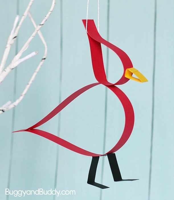 Paper Strip Cardinal Craft for Kids with Free Template