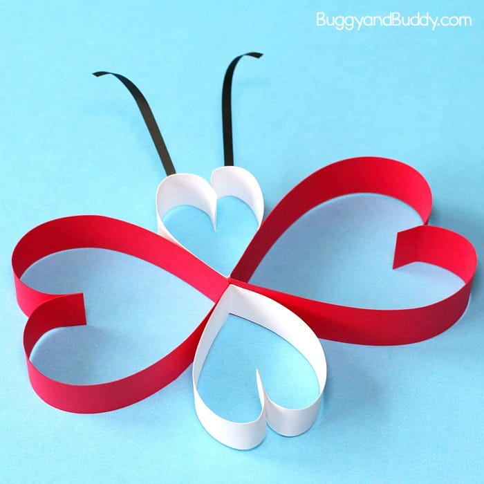 paper butterfly craft for kids using hearts