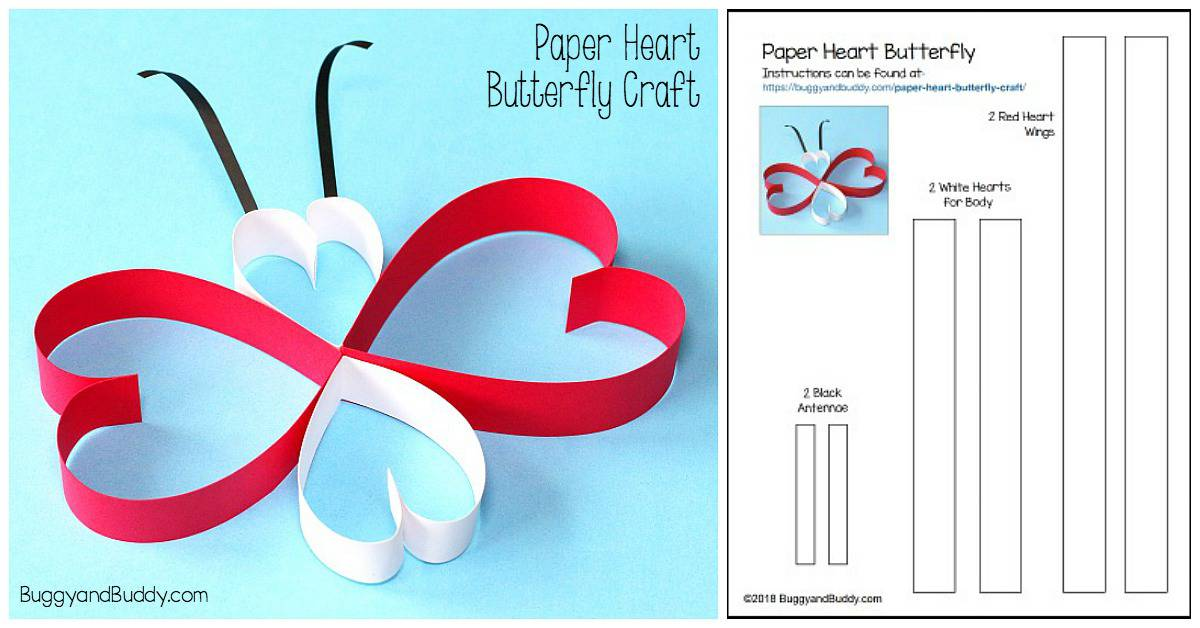 Paper Heart Butterfly Craft for Kids with Free Printable Template (For Valentine's Day or Spring!)