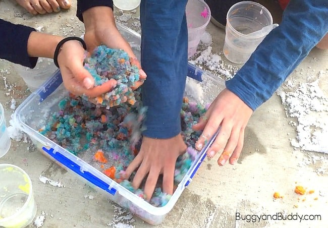 Winter STEM / STEAM Activity for Kids: Exploring Insta-Snow and Color Mixing