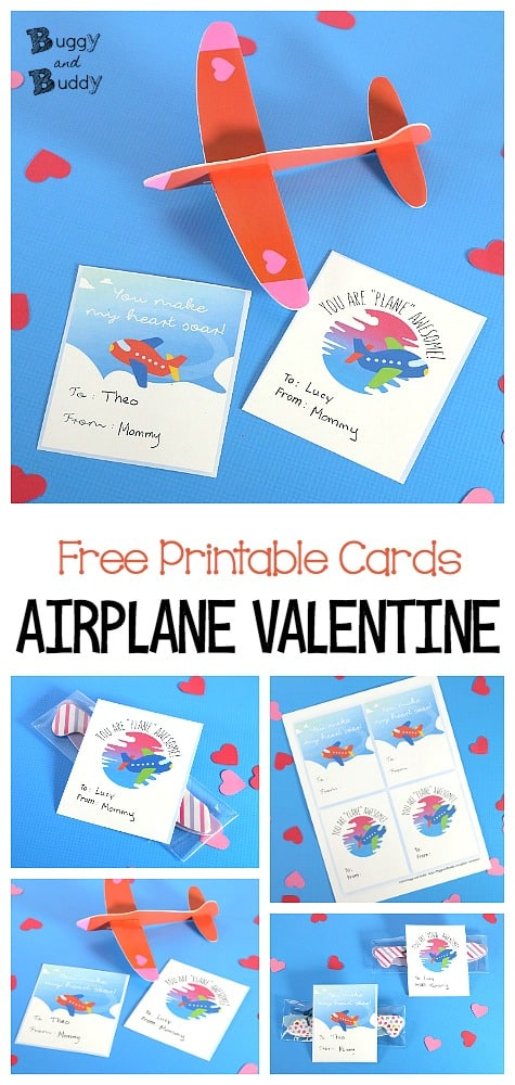 Free Printable Airplane Valentine Cards- Glider Favors for Valentine's Day