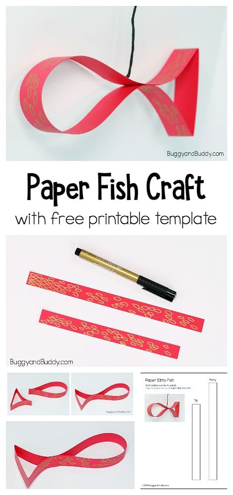 Paper fish craft for kids with free printable template- perfect for chinese new year or an ocean unit